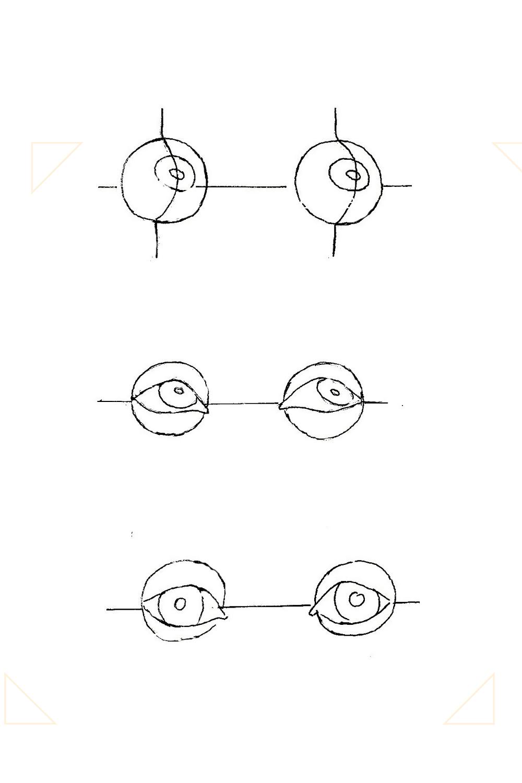 Grafik wie man Augen zeichnen kann.