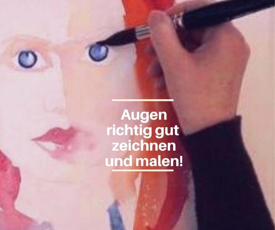 Arbeitsbild wie Augen in Aquarell einem menschlichen Gesicht gemalt werden.