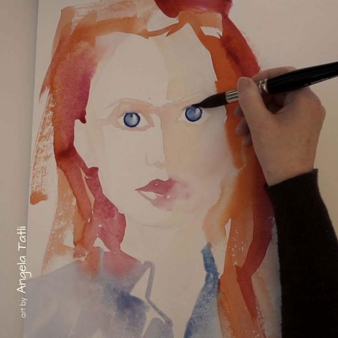 Blogbeitagsbild zeigt Augenmalen mit Aquarellfarbe von Angela Tatli