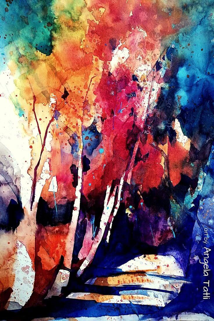 Herbstwald in Aquarell gemalt