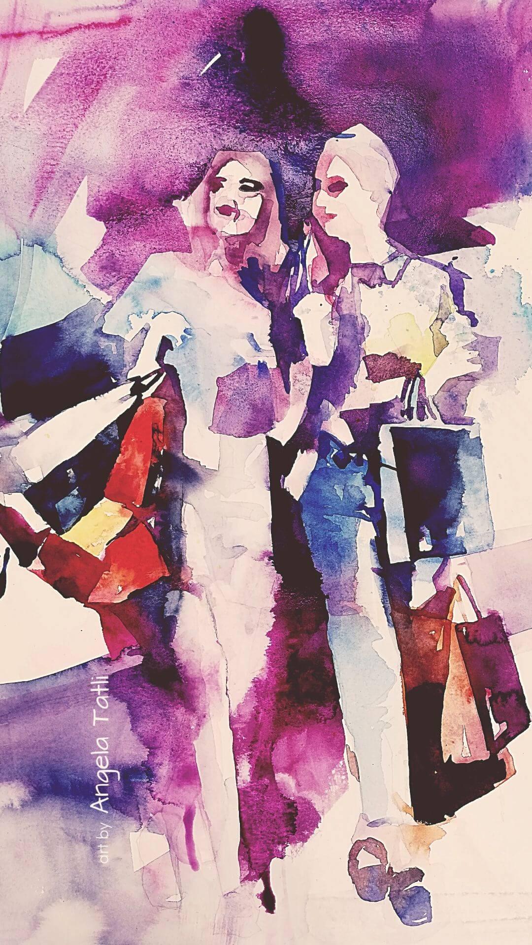 Junge Frauen beim Shoppen. Aquarellmalerei