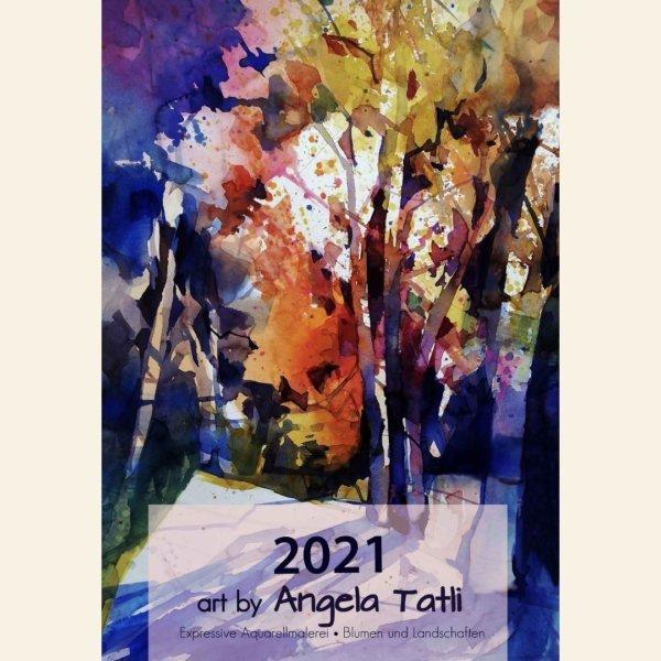 Herbstwald in Aquarell gemalt. Als Deckblatt für einen Kalender 2021.