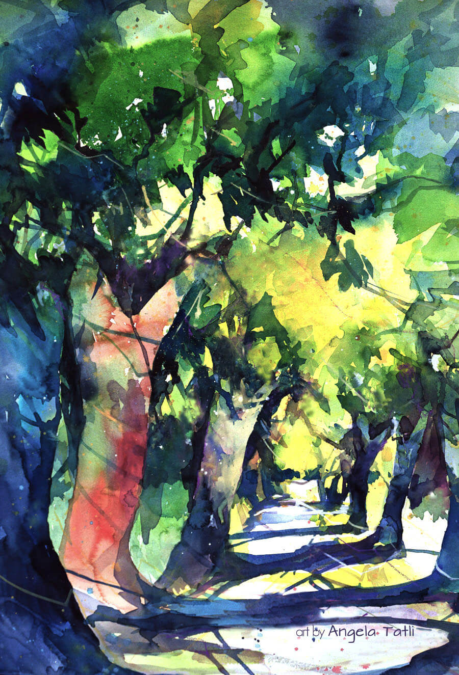 Wald in Aquarell