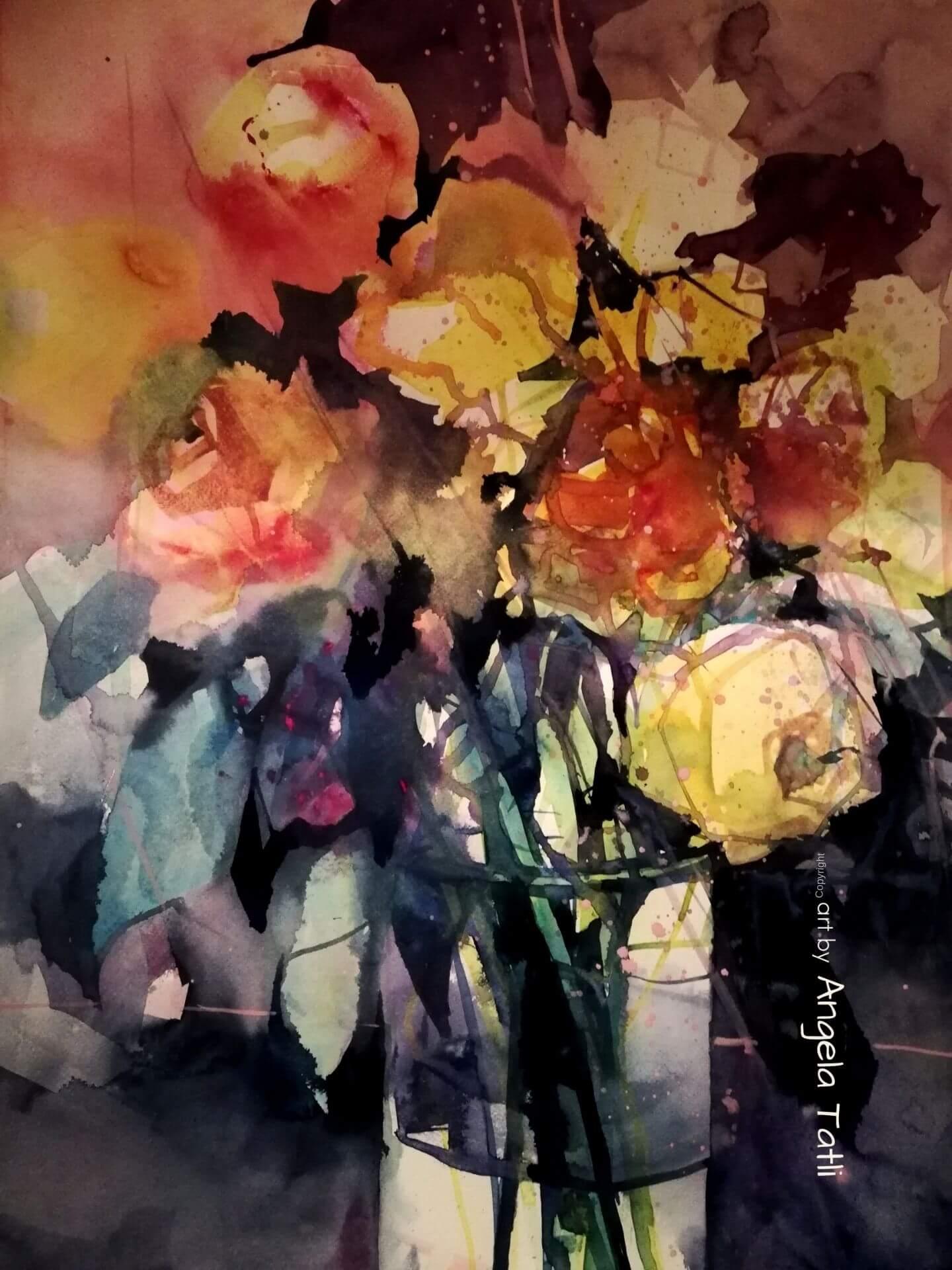 Rosen in Aquarell gemalt!