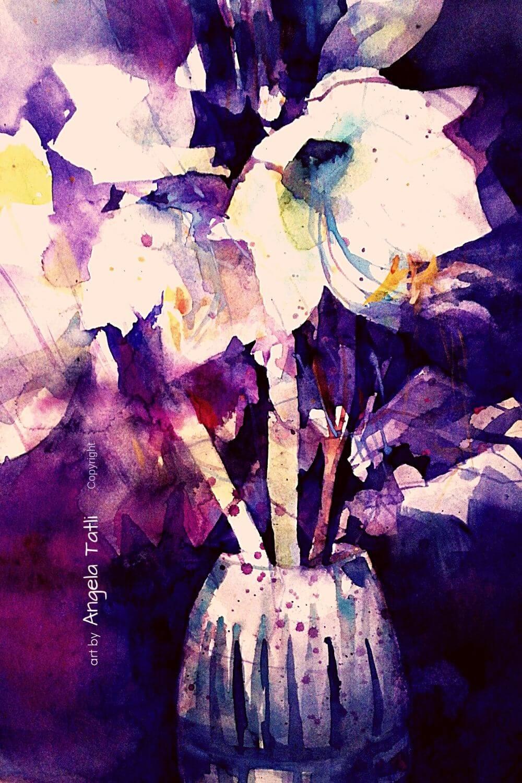 Weiße Amaryllis mit Aquarellfarbe gemalt