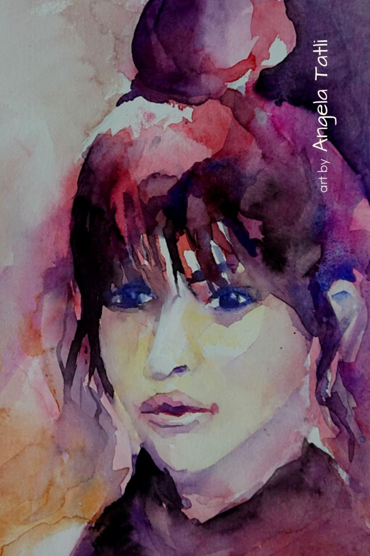 Ein Gesicht von einer jungen Frau expressiv in Aquarell gemalt!