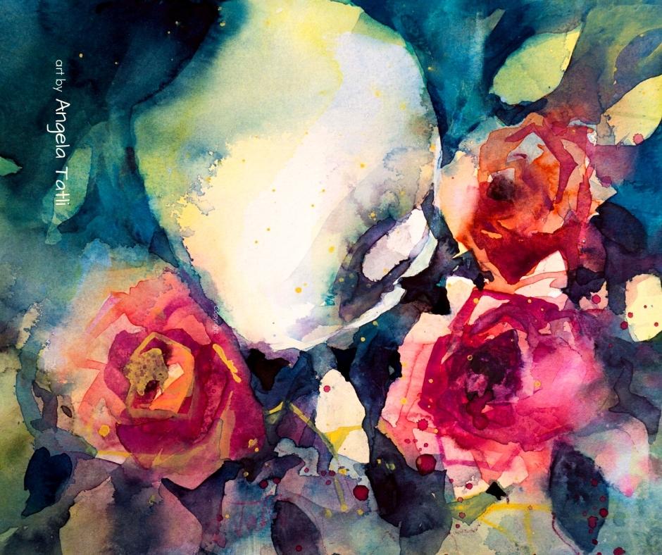 Blumenaquarell Rosen mit Calla expressiv gemalt von Angela Tatli