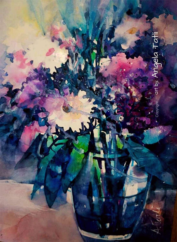 Blumenaquarell mit Hortensie und Gerbera expressiv gemalt!