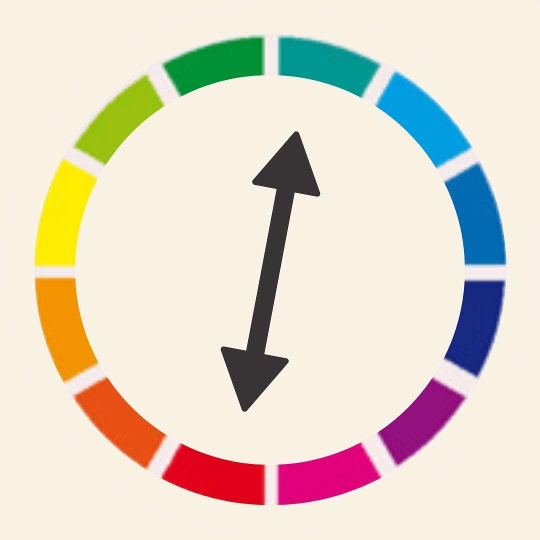 Farbenkreis zum zeigen von Farbkontrasten mit Pfeil!