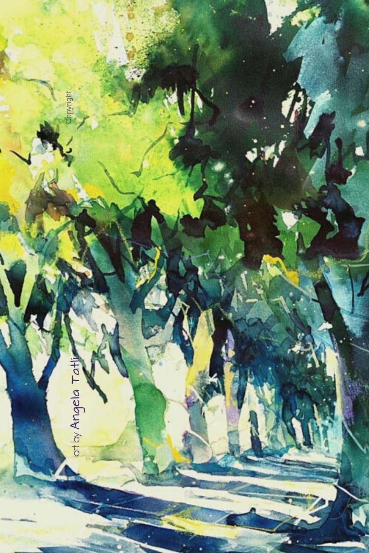 Aquarell Waldweg mit Licht und Schatten expressiv gemalt von Angela Tatli