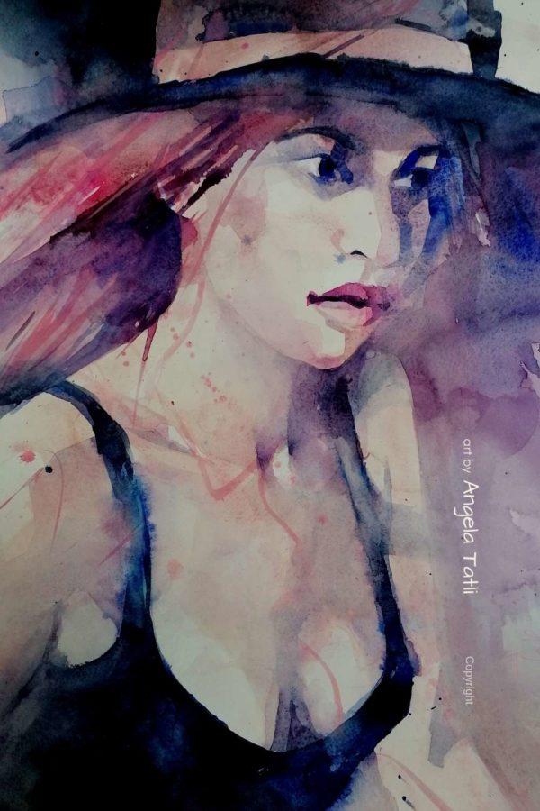 Frau mit Hut expressiv in Aquarell gemalt von Angela Tatli