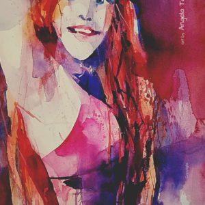 Ein Mädchen expressiv in Aquarell gemalt von Angela Tatli