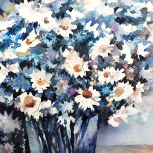 Margeriten und Kornblumen expressiv in Aquarell gemalt.
