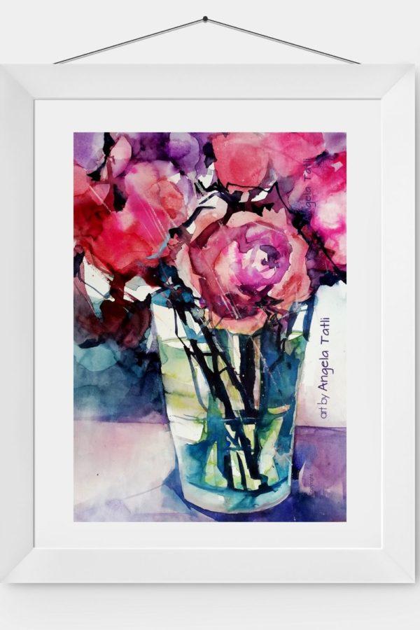 Rosenaquarell in einen weißen Rahmen expressiv gemalt.