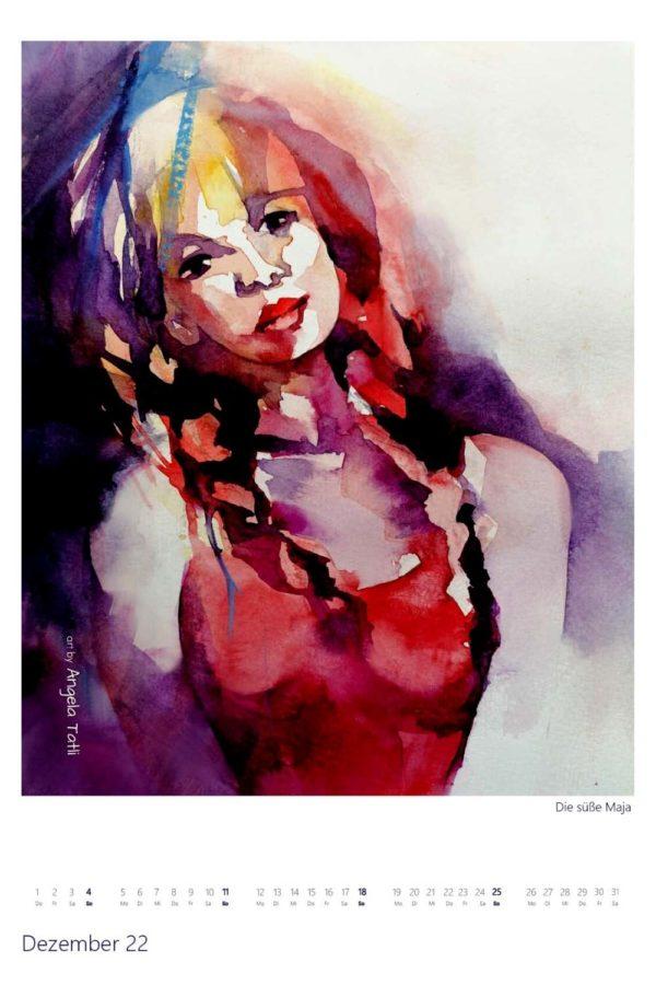 Kalenderblatt vom Dezember Kunstkalender in Aquarell gemalt von der Künstlerin Angela Tatli