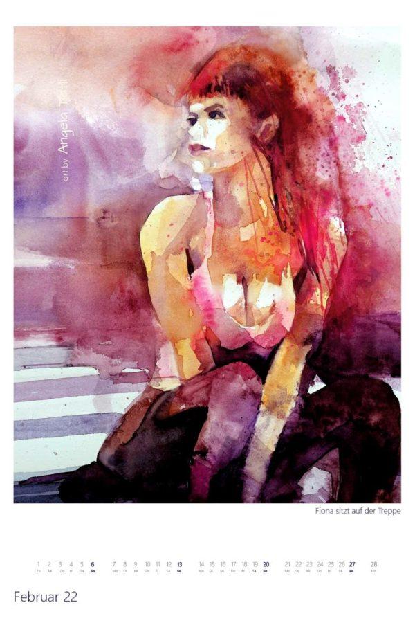Kalenderblatt vom FebruarKunstkalender in Aquarell gemalt von der Künstlerin Angela Tatli