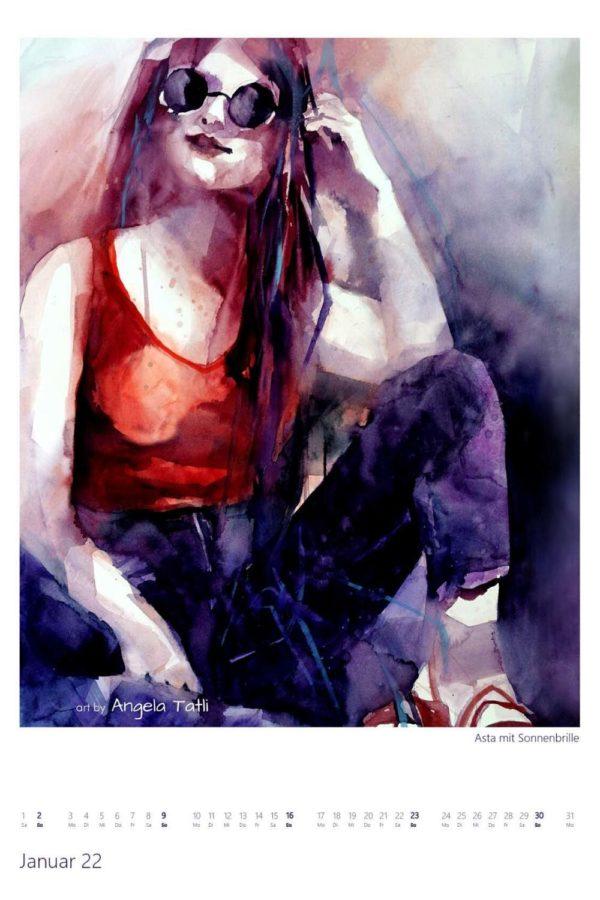 Kalenderblatt vom Januar Kunstkalender in Aquarell gemalt von der Künstlerin Angela Tatli