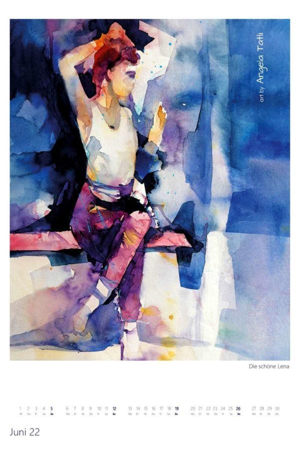 Kalenderblatt vom Junil Kunstkalender in Aquarell gemalt von der Künstlerin Angela Tatli