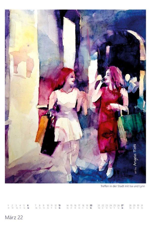 Kalenderblatt vom März Kunstkalender in Aquarell gemalt von der Künstlerin Angela Tatli