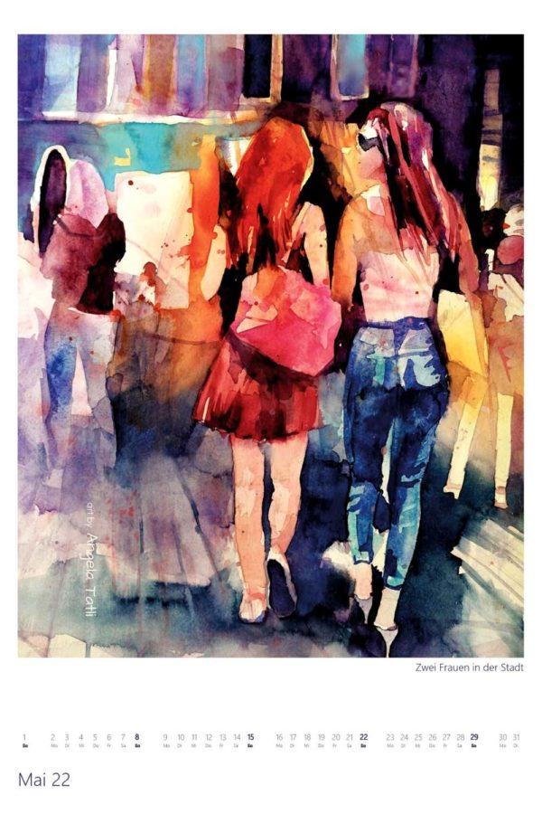 Kalenderblatt vomApril Kunstkalender in Aquarell gemalt von der Künstlerin Angela Tatli