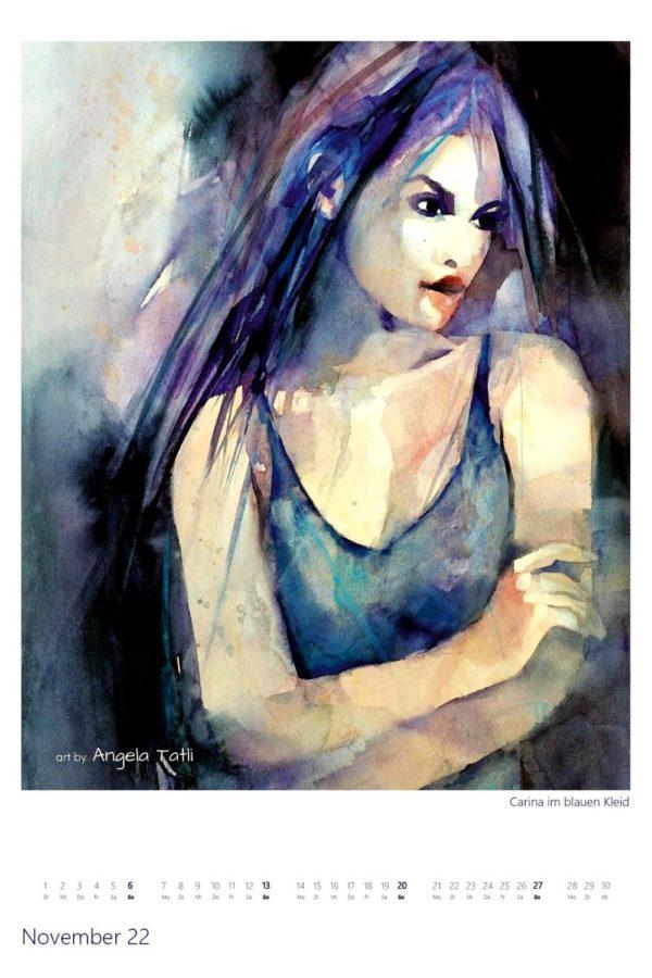 Kalenderblatt vom November Kunstkalender in Aquarell gemalt von der Künstlerin Angela Tatli