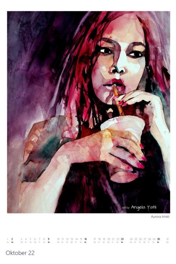 Kalenderblatt vom Oktober Kunstkalender in Aquarell gemalt von der Künstlerin Angela Tatli