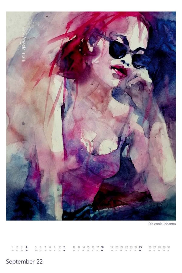 Kalenderblatt vom September Kunstkalender in Aquarell gemalt von der Künstlerin Angela Tatli