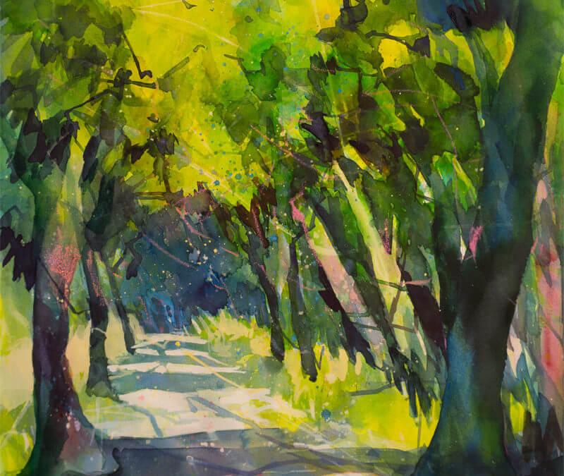 Aquarell: Licht und Schatten im Wald