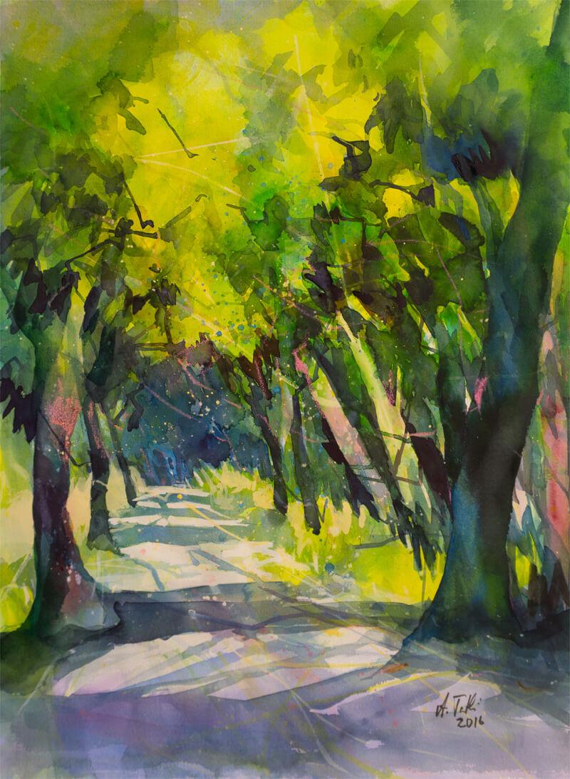 Aquarell- Licht und Schatten im Wald © Aquarell Waldweg von Angela Tatli
