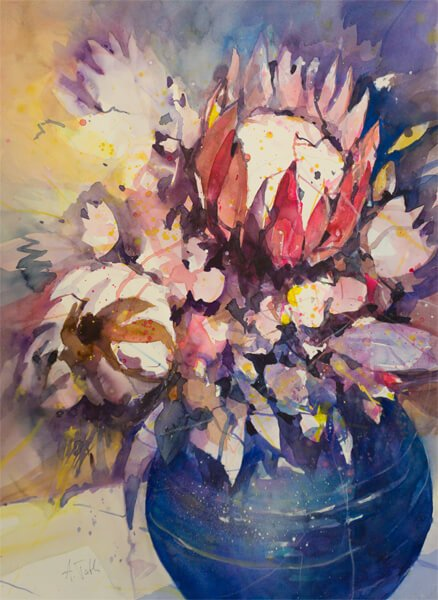 Blumenaquarell Proteas