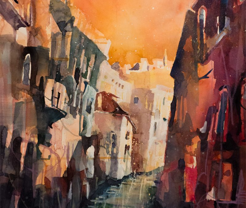 Venice an expressive watercolor painting