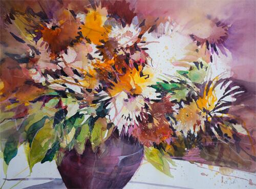 Herbstblumen in einer Vase © von Angela Tatli  Bildformat 56 X 76